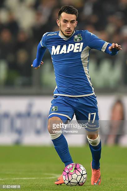 Nicola Sansone of US Sassuolo Calcio in action during the Serie A match between Juventus FC and US Sassuolo Calcio at Juventus Arena on March 11 2016...