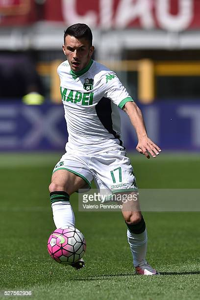 Nicola Sansone of US Sassuolo Calcio in action during the Serie A match between Torino FC and US Sassuolo Calcio at Stadio Olimpico Grande Torino on...