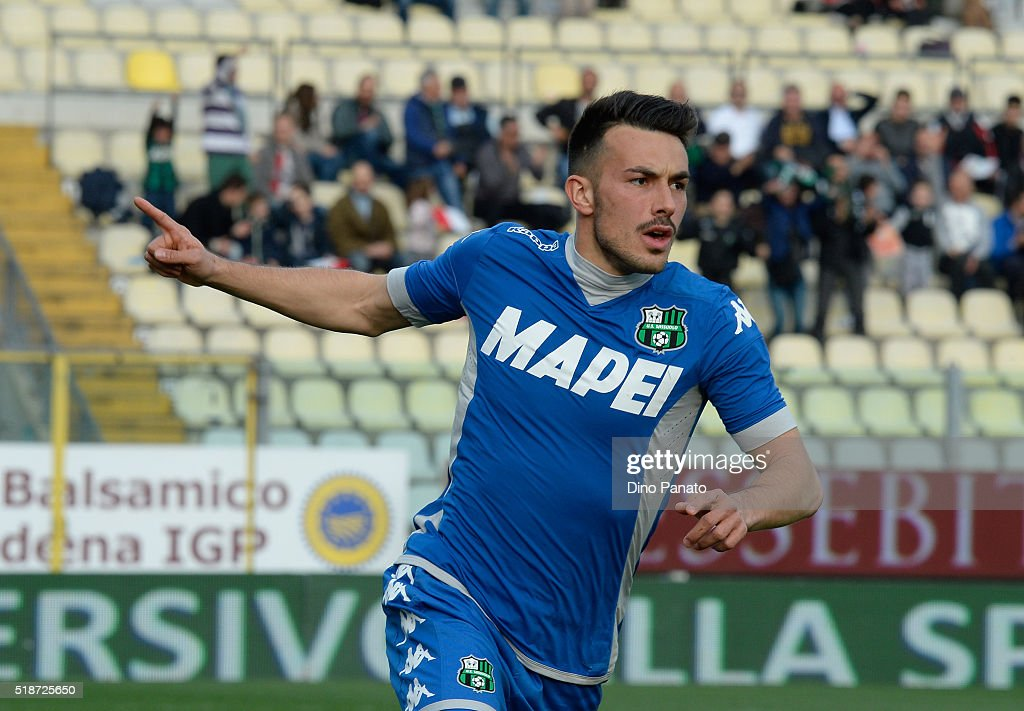 Nicola Sansone of US Sassuolo celebrates after scoring his opening goal during the Serie A match between Carpi FC and US Sassuolo Calcio at Alberto Braglia Stadium on April 2, 2016 in Modena, Italy.