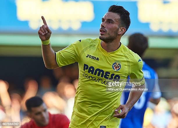 Nicola Sansone of Villarreal celebrates scoring his team's first goal during the La Liga match between Villarreal CF and Real Sociedad at El Madrigal...