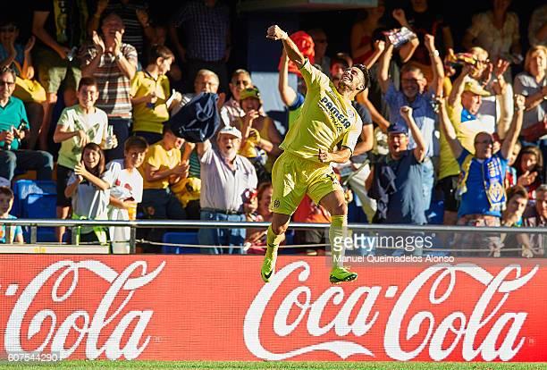 Nicola Sansone of Villarreal celebrates scoring his team's second goal during the La Liga match between Villarreal CF and Real Sociedad at El...