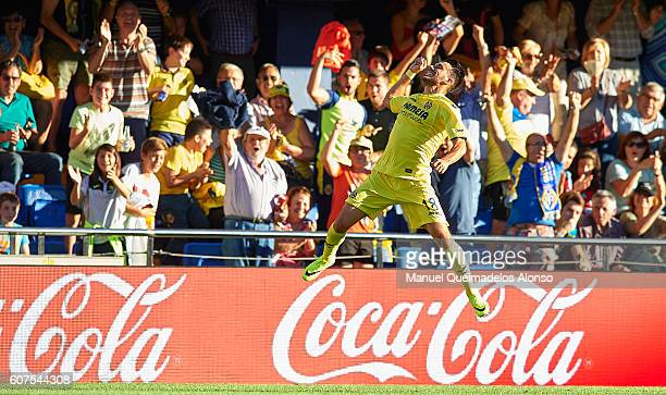 Nicola Sansone of Villarreal celebrates scoring his team's second goal during the La Liga match between Villarreal CF and Real Sociedad at El...