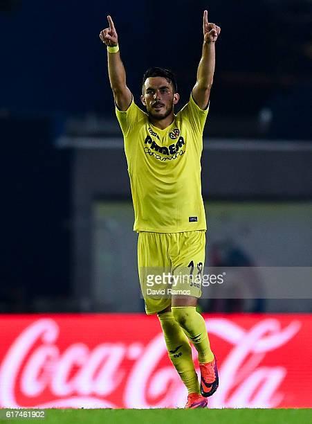 Nicola Sansone of Villarreal CF celebrates after scoring his team's first goal during the La Liga match between Villarreal CF and UD Las Palmas at El...