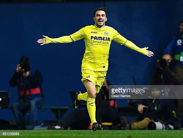 Nicola Sansone of Villarreal CF celebrates after scoring his team's first goal during the La Liga match between Villarreal CF and FC Barcelona at...