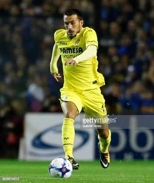 Nicola Sansone of Villarreal CF drives the ball during the international friendly match between Boca Juniors and Villarreal CF at Alberto J Armando...