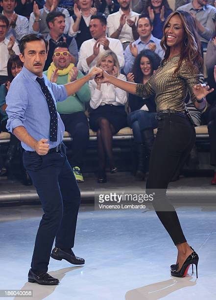 Nicola Savino and Ainett Stephens dancing during 'Quelli Che Il Calcio' Italian TV Show on October 27 2013 in Milan Italy