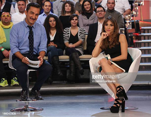 Nicola Savino and Benedetta Parodi attend 'Quelli Che Il Calcio' Italian TV Show on October 27, 2013 in Milan, Italy.