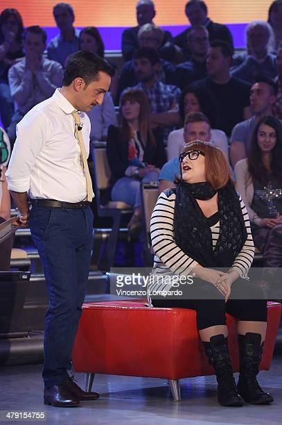 Nicola Savino and Maria Di Biase attend at 'Quelli Che Il Calcio' TV Show on March 16 2014 in Milan Italy