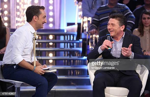 Nicola Savino and Walter Mazzarri attend at 'Quelli Che Il Calcio' TV Show on March 16 2014 in Milan Italy