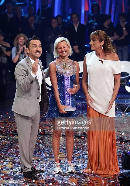 Nicola Savino Antonella Elia and Vladimir Luxuria attend L'Isola dei Famosi Final on April 5 2012 in Milan Italy