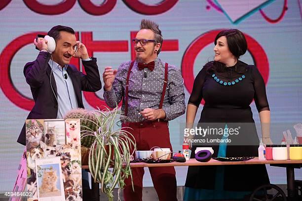 Nicola Savino Corrado Nuzzo and Maria Di Biase attend the 'Quelli Che Il Calcio' Tv Show on November 23 2014 in Milan Italy