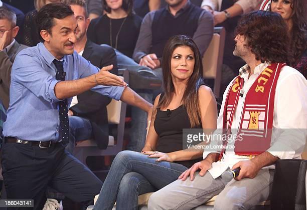 Nicola Savino, Flora Canto and Massimo Bagnato attend 'Quelli Che Il Calcio' Italian TV Show on October 27, 2013 in Milan, Italy.