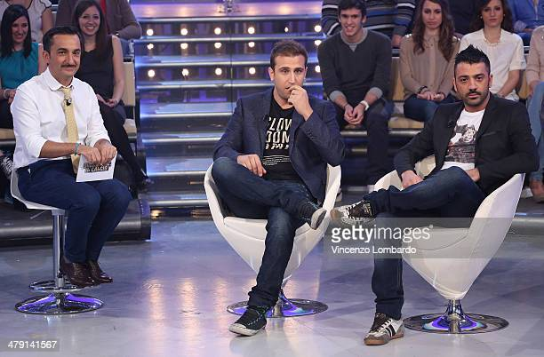 Nicola Savino, Pio and Amedeo attend at 'Quelli Che Il Calcio' TV Show on March 16, 2014 in Milan, Italy.
