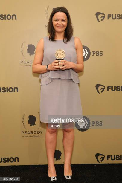 Nicola Shindler poses with an award during The 76th Annual Peabody Awards Ceremony at Cipriani Wall Street on May 20 2017 in New York City