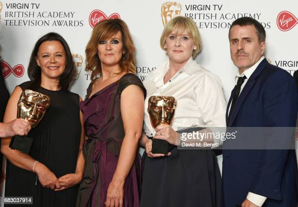 Nicola Shindler Siobhan Finneran Sarah Lancashire and Con O'Neill winners of the Drama Series award for Happy Valley pose in the Winner's room at the...