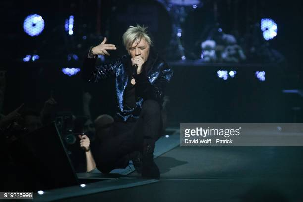 Nicola Sirkis from Indochine performs at Hotel Accor Arena Bercy on February 16 2018 in Paris France