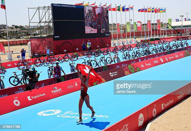 Nicola Spirig of Switzerland celebrates after winning the gold medal in the Women's Triathlon Final during day one of the Baku 2015 European Games at...