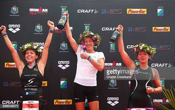 Nicola Spirig of Switzerland celebrates after winning the womens race during the Ironman 703 Pescara on June 12 2016 in Pescara Italy Donat...