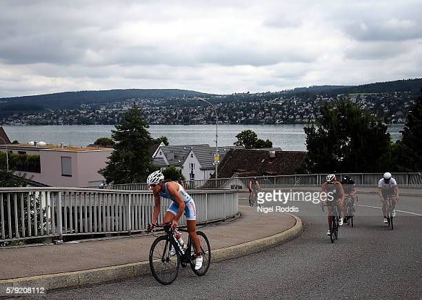 Nicola Spirig of Switzerland competes during the bike section of the 5150 triathlon on July 23 2016 in Zurich Switzerland