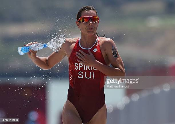 Nicola Spirig of Switzerland competes in the Womens' Triathlon Final during day one of the Baku 2015 European Games at Bilgah Beach on June 13 2015...