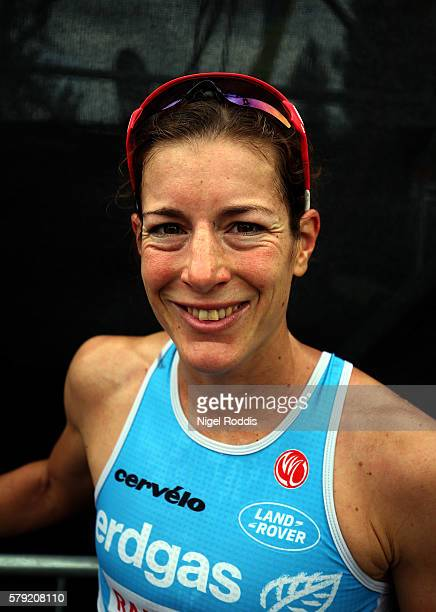 Nicola Spirig of Switzerland poses for a picture after finishing second in the 5150 triathlon on July 23 2016 in Zurich Switzerland