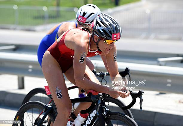 Nicola Spirig of Switzerland rides in the Women's Triathlon Final during day one of the Baku 2015 European Games at Bilgah Beach on June 13 2015 in...