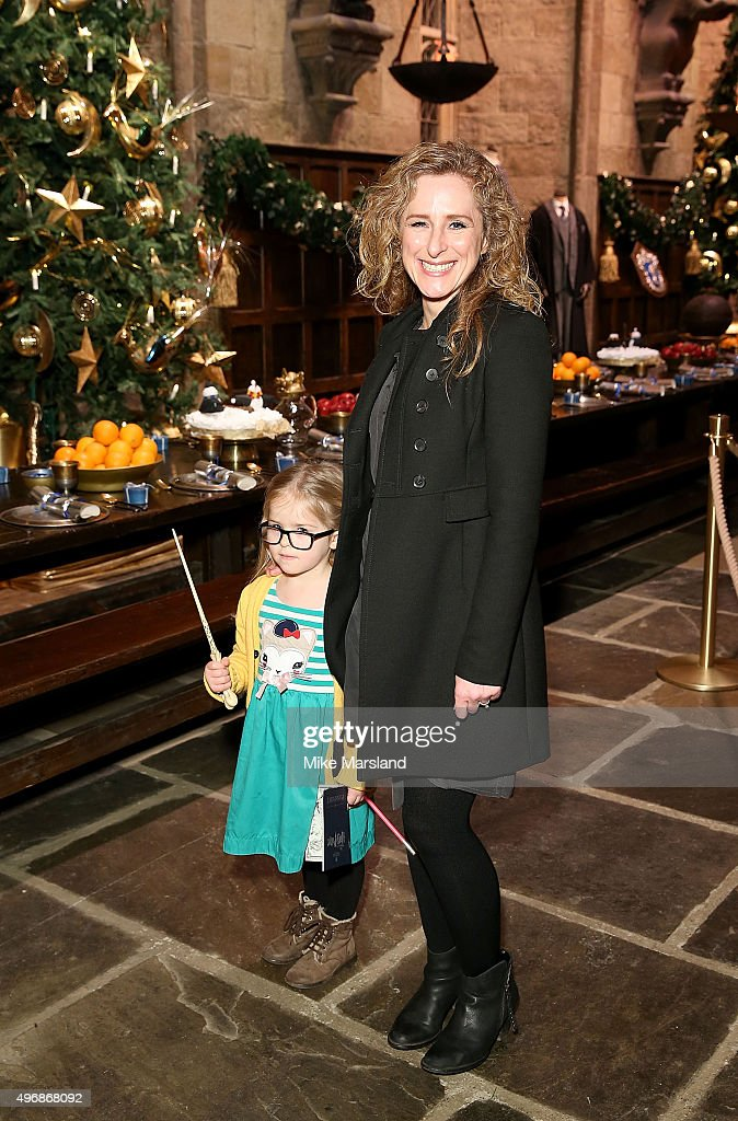 Nicola Stephenson and daughter attend the Launch Of Hogwarts In The Snow at Warner Bros. Studio Tour London on November 12, 2015 in Watford, England.