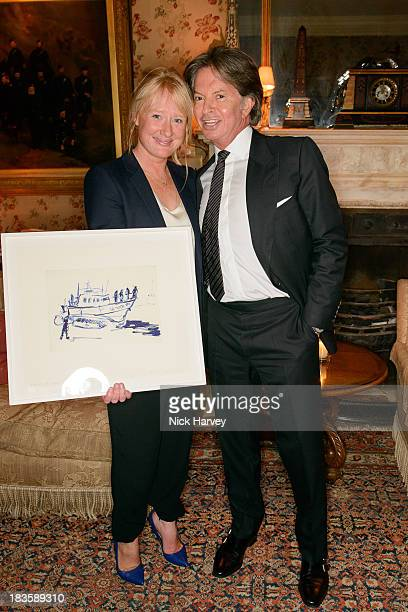 Nicola Stephenson and Richard Caring attend Nicola and James Stephenson Tracey Emin and Johnny Bergius VIP Party at Mark's Club on October 7 2013 in...