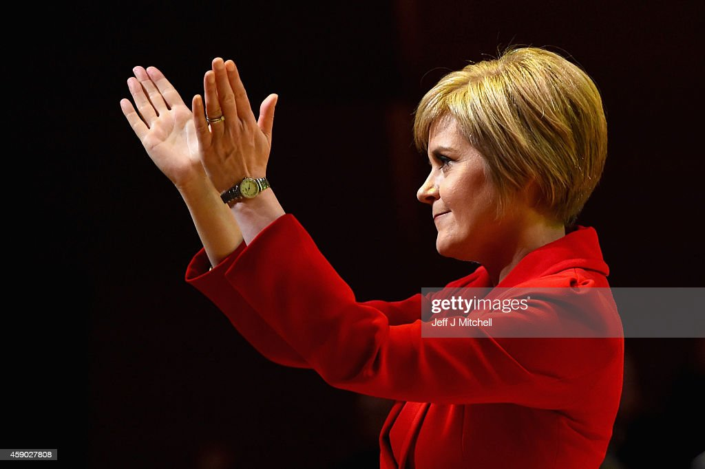 Nicola Sturgeon, acknowledges applause following her first key note speech as SNP party leader at the party's annual conference on November 15, 2014 in Perth, Scotland. Nicola Sturgeon formally took over the leadership of the SNP from Alex Salmond yesterday, during her speech she urged voters to leave Labour in next May's UK election.