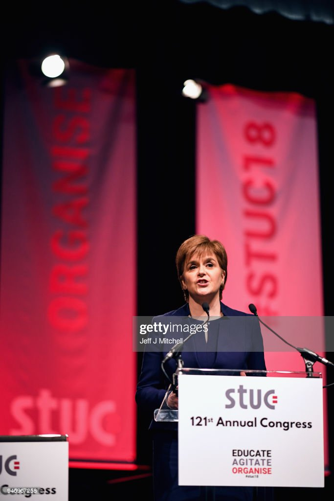 Nicola Sturgeon addresses the Scottish Trade Union Congress on March 16, 2018 in Aviemore, Scotland. Trade Unionists are gathering for the STUC 121st Annual Congress being held at the Macdonald Resort from 16th to the 18th of April.