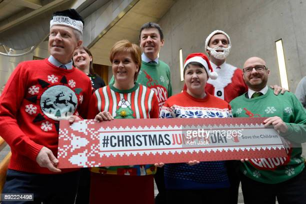 Nicola Sturgeon and other Scottish party leaders sport Christmas jumpers in support of a Save The Children charity event after First Minister's...