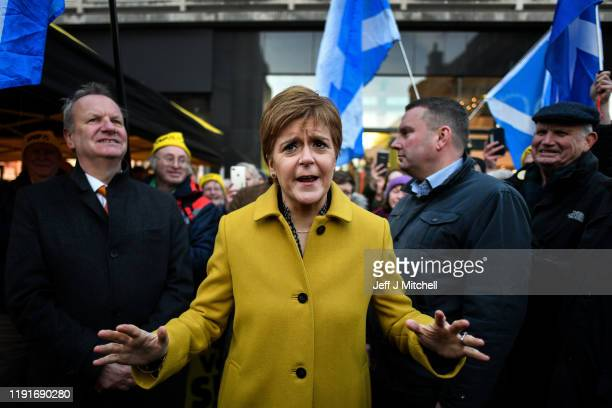 Nicola Sturgeon and Pete Wishart, SNP Candidate for Perth and North Perthshire, campaign in the British general election during a visit the High...