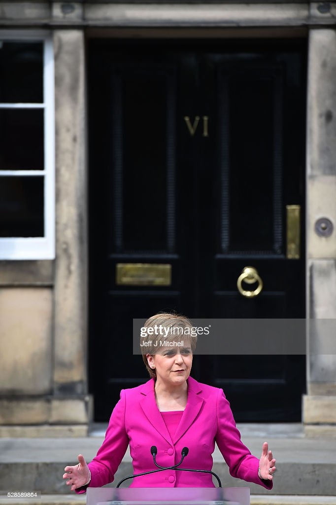 Nicola Sturgeon announces she will enters a third historic term at Holyrood on May 06, 2016 in Edinburgh, Scotland. Nicola Sturgeon, leading the Scottish National Party, won a historic third term at the Holyrood elections overnight. The SNP will likely form a minority government after failing to win a majority taking 63 seats out of a possible 129. The Conservative Party became the second largest party pushing Labour into third place.