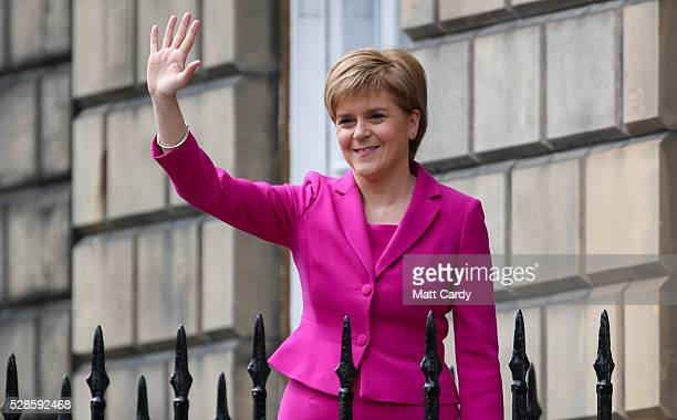 Nicola Sturgeon announces she won't form a coalition but that her government will be inclusive at Holyrood on May 6 2016 in Edinburgh Scotland Nicola...