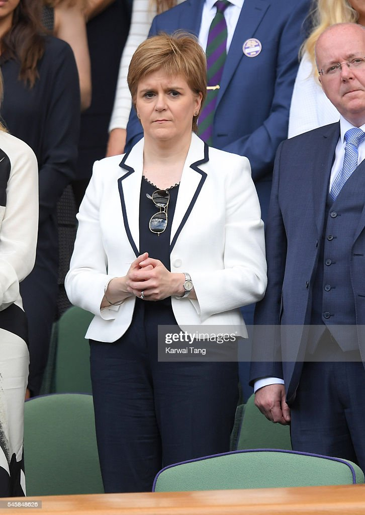 Nicola Sturgeon attends the Men's Final of the Wimbledon Tennis Championships between Milos Raonic and Andy Murray at Wimbledon on July 10, 2016 in London, England.
