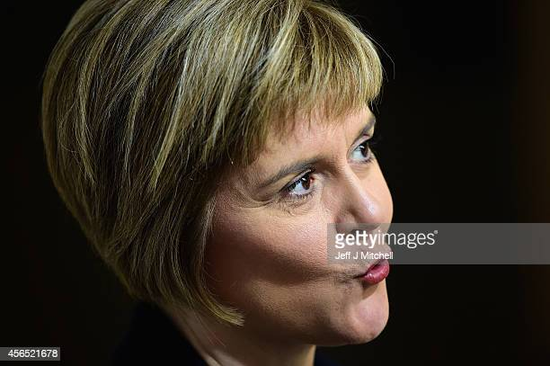 Nicola Sturgeon deputy First Minister of Scotland gives television interviews at the Scottish Parliament on October 2 2014 in EdinburghScotland The...
