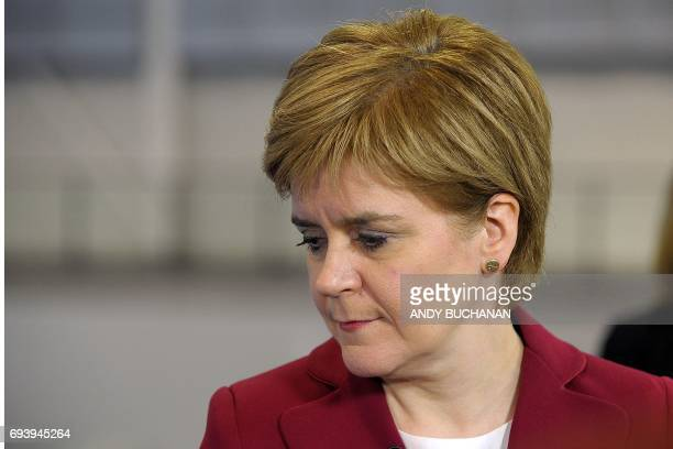 Nicola Sturgeon First Minister of Scotland and leader of the Scottish National Party arrives at the main Glasgow counting centre in Glasgow Scotland...
