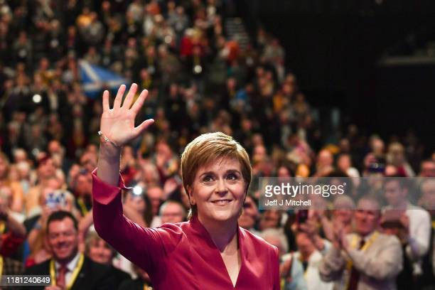 Nicola Sturgeon First Minister of Scotland and leader of the SNP receives a round of applause following her address to the party's autumn conference...