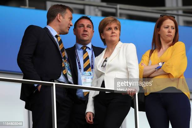 Nicola Sturgeon, First Minister of Scotland looks on from the stands prior to the 2019 FIFA Women's World Cup France group D match between England...