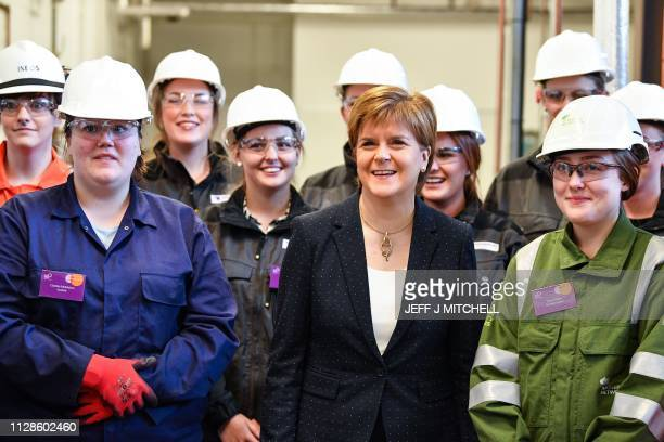 Nicola Sturgeon, First Minister of Scotland meets modern apprentices during a visit to Forth Valley College to mark Scottish Apprenticeship Week on...