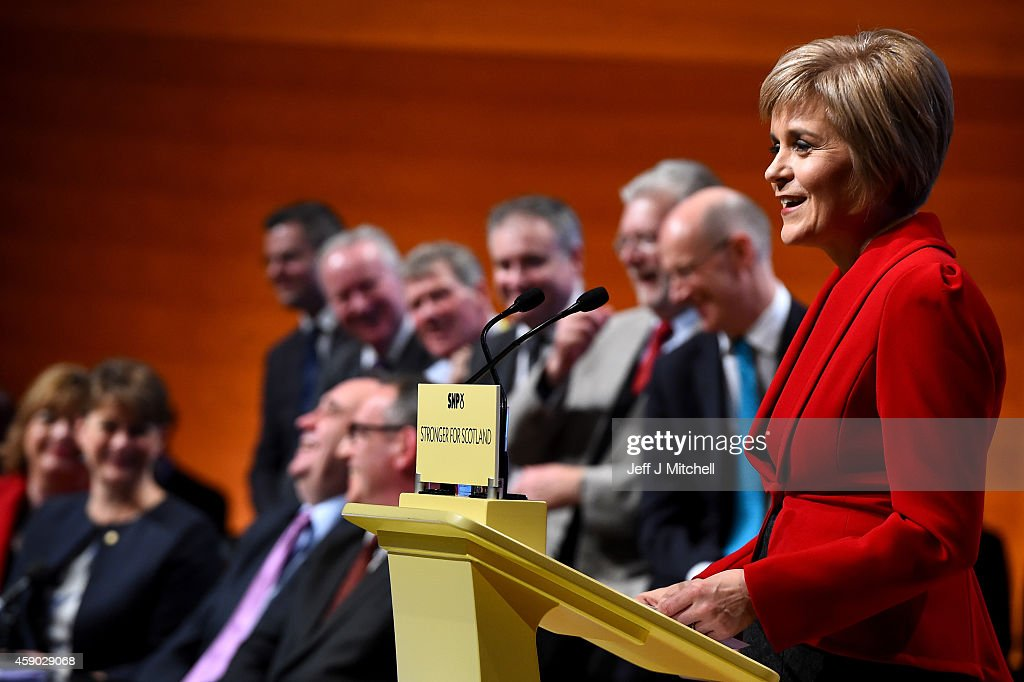 Nicola Sturgeon, gives her first key note speech as SNP party leader at the partys annual conference on November 15, 2014 in Perth, Scotland. Nicola Sturgeon formally took over the leadership of the SNP from Alex Salmond yesterday, during her speech she urged voters to leave Labour in next May's UK election.