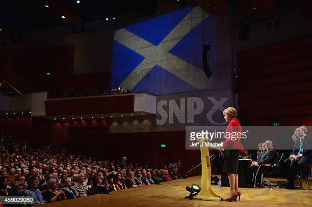 Nicola Sturgeon gives her first key note speech as SNP party leader at the partys annual conference on November 15 2014 in Perth Scotland Nicola...
