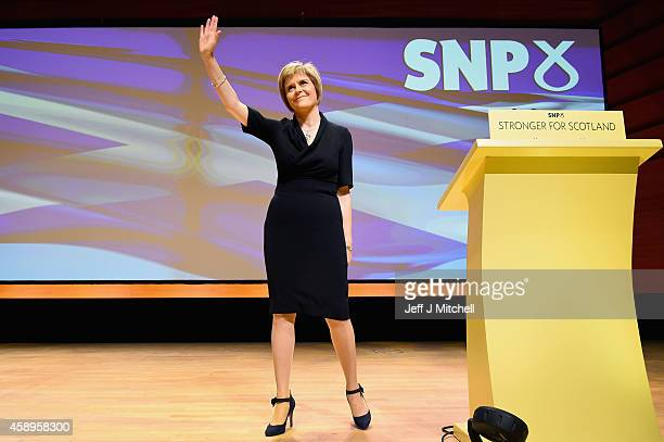 Nicola Sturgeon is formally announced as the new leader of the SNP at the party's annual conference on November 14 2014 in Perth Scotland Mr Salmond...