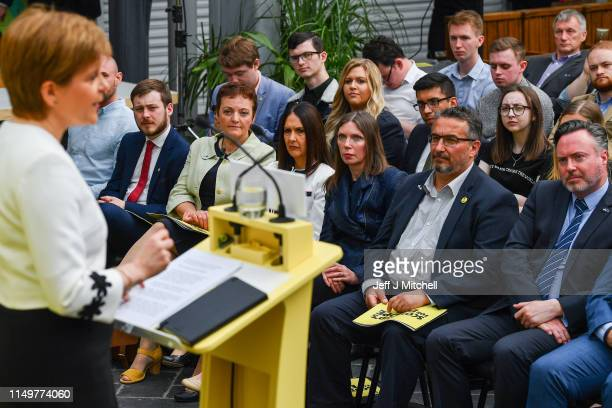 Nicola Sturgeon joins SNP candidates L to R Alex Kerr Heather Anderson Margaret Ferrier Aileen McLeod Christian Allard Alyn Smith to launch the...