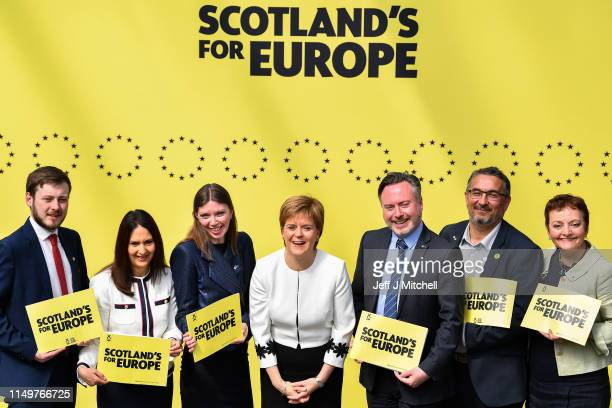 Nicola Sturgeon joins SNP candidates L to R: Alex Kerr, Margaret Ferrier, Aileen McLeod, Alyn Smith, Christian Allard, Heather Anderson, to launch...
