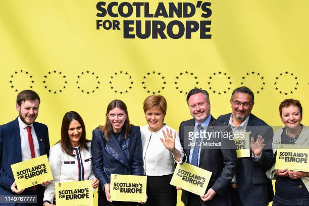 Nicola Sturgeon joins SNP candidates L to R Alex Kerr Margaret Ferrier Aileen McLeod Alyn Smith Christian Allard Heather Anderson to launch the...