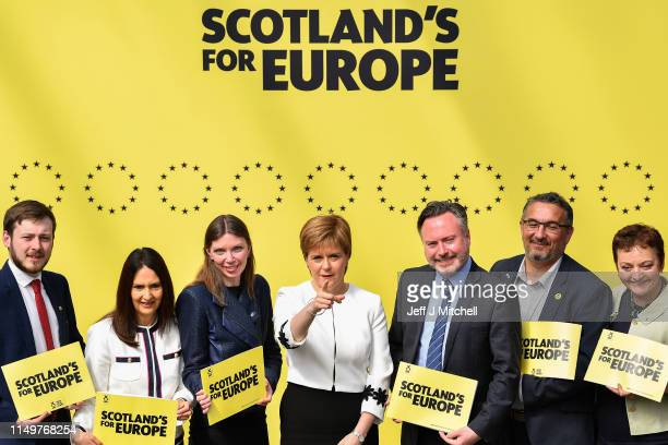 Nicola Sturgeon joins SNP candidates L to R: Alex Kerr, Margaret Ferrier, Aileen McLeod, Nicola Sturgeon, Alyn Smith, Christian Allard, Heather...