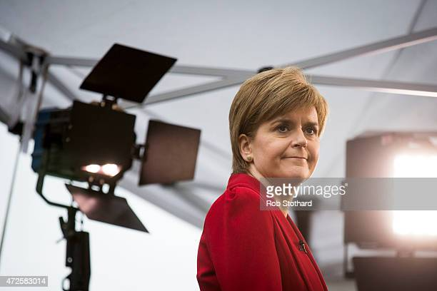 Nicola Sturgeon leader of the Scottish National Party is interviewed by STV in Westminster on May 8 2015 in London England The SNP claimed a historic...