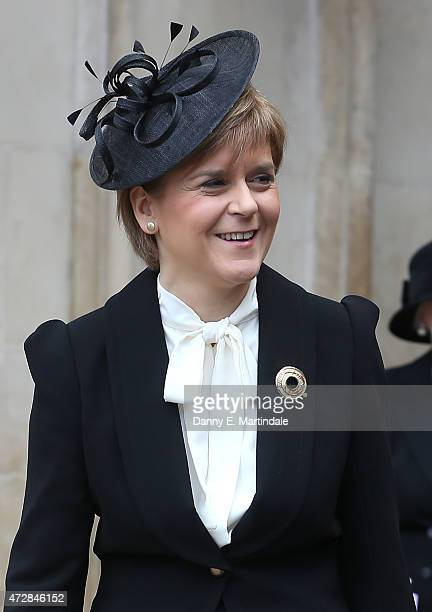 Nicola Sturgeon leaves the VE Day 70th Anniversary service at Westminster Abbey on May 10 2015 in London England