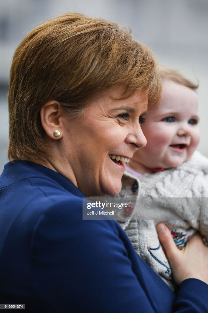 Nicola Sturgeon meets a young child as she departs from the Scottish Trade Union Congress on March 16, 2018 in Aviemore, Scotland. Trade Unionists are gathering for the STUC 121st Annual Congress being held at the Macdonald Resort from 16th to the 18th of April.